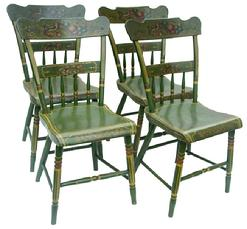 W337 Set of four, early 19th c. Lancaster County  Pennsylvania  paint decorated  chairs.