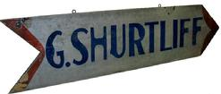 "U10 Pennslyvania G.  Shurtliff  wooden Sign Arrow, double sided, measurements are: 48"" long x 12"" wide x 7/8"" thick"