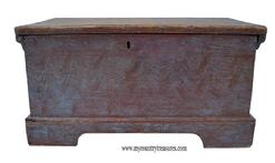 T130 Eastern Shore Maryland miniature paint decorated Blanket Chest . Applied cut out bracket base, rose-head & tee nailed construction.  circa 1800
