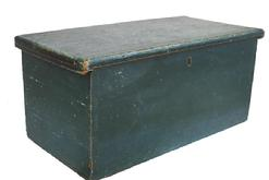 Y66 19th century New England Storage Box with old blue paint, dovetailed case, one board construction, circa 1820-1840