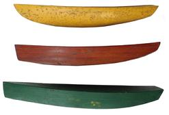 A242 Early 20th century Maryland Eastern Shore,set of three, pond boat  builders patterns, each one is different in form, with the original beautiful paint., circa 1930 , all three from a private collection 18� long