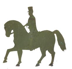 "A313  19th century Horse with Rider ,sheet iron full body horse weathervane  with great paint history,Presented on a iron wall mount  for displaying  original condition Measurements are: 30"" long x 24"" tall"