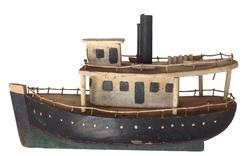 "A368 Early 20th century American steam tug boat model, found in Delaware, circa 1930, the wood is pine with original green and whit paint 9 1/2"" long x 8 1/2"" tall"