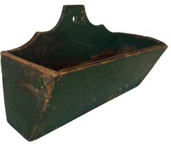 "A396 19th century Wall Box with old green paint, square head nail constructtion with a scalloped back, hole for hanging,  canted sides  circa 1860 Measurements are: 12"" wide x 7 1/2"" tall x 5 1/4"" deep"