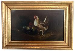 "A398  19th century  small  Painting of Chickens in barn scene with basket in background , oil on board, with gold original frame Measurements are: 9 1/2"" wide x 6 1/2"" tall"