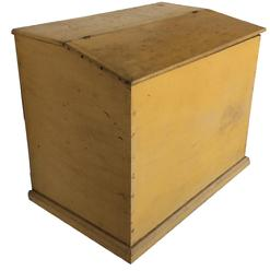 "A404 Pennslyvania Storage Bin,  with wonderful dry mustard paint, dovetailed case, with a slanted lid , the interior is nice and clean , it found in Mufflin County Pa. circa 1830 1840  Measurements are: 22"" deep x 34 3/4"" wide x 31 1/4"" tall"