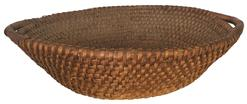 "A406 Pennsylvania 19th Century Rye Straw Coil Basket. Circular form with tapered sides and applied  open handles.4""h. x 15-1/2"" diam."