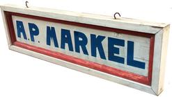 "A482 Early Maryland  wooden trade sign in original red, white and blue paint, painted on board with molding, two sided  Mesurements are: 27"" x 8"" tall x 2"" deep"