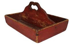 B217Pennslyvania Cuttlery Tray in original bittersweet red  paint, splayed sides with a nice high scalloped  divider, with a cut out handle. Nail construction
