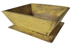 "B279 19th century  Apple Box with wonderful original yellow paint, the sides of the box is canted  nailed construction with square.head nales the bottom is one board held in place with square head nails Measurements are: 9 3/4"" x 10 3/4"" x 3 3/4"" tall"