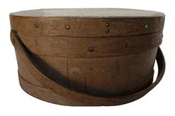 "B288 Early 19th century  over sized very unusual , bail handle Pantry ,with the original nutmeg painted surface,  The Pantry Box is   tongue and groove, softwood staved sides,  wood bands with copper tacks , bent wood handle,Measurements   13 3/4"" diameter x 6 3/4"" tall"
