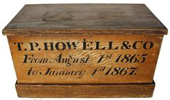 B292 19th century painted decorated Box, with the name T.P. Howell & Co. 1865- 1867( T.P. Howell and Company (Newark, N.J.)T.P. Howell and Company, founded by Theodore Pike Howell, was located at the intersection of Wilsey and New Streets in Newark, New Jersey.