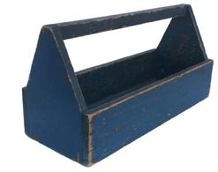 B45 late 19th  century  Pennsylvania,tool carrier,  with wonderful dry blue paint, nailed construction, it is all original