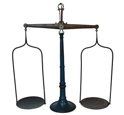 B58 19th century Country Store Balance Scale,  counter top balance scale by F. Meyers Co .,Phildelaphia , ,having cast iron decorative finial,with wonderful old blue paint , with brass and metal  weighing platforms, circa 1840