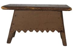"C192 19th century Virginia splay leg foot stool with nutmeg brown paint, vey unusual design aprobn the legs are splayed with a bootjack cut square nail construction circa 1850 Measurements are  12"" wide x 7 1/2"" tall x 6"""