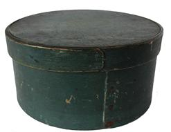 "C333 New England 19th Century Pantry Box, with original beautiful  old  blue  paint surface , with over lapping bentwood sides, secured with small metal tacks.The band is pegged on to the lid, Measurements are 8 1/2"" diameter x 4"" tall"
