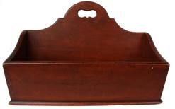 "C342 19h century  Cutlery Tray, with original  dry red wash,circa 1830-1840  nice high cut out handle, with canted sides,  dovetailed case, found in Lehman Co. Pennsylvania 11"" deep x 14"" wide x 9 1/2"" tall"