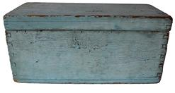 "C452 19th century Pennslyvania original old blue painted doucment box , dovetailed case and dovetailed lid with all original hardware 15"" long x 7"" deep x 7"" tall"