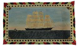 "C536 20th century painted canvas rugs also known as floorcloths or oylcloth, of a ship at sea with a whale great colors good condition. 28"" x 47 1/2"""