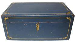 "C573  19th century Document Box with the original blue paint with yellow pin strip decoration dovetailed case with square head nail construction. With beautiful painted salmon interior, circa 1850 Measurements are  8"" deep x 14"" wide 6"" tall"