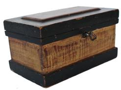 "C600  Mid 19th century Pennslyvania  paint decorated  miniature Tool Chest, the case is dovetailed  outstanding workmanship,the interior, with glove tile and three dovetailed drawers below. This Box comes with all Provenance. Made in 1844 and gave to Mary Ann Yates. 3 5/8"" deep x 6 1/4"" wide x 3 1/4"" tall"