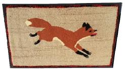 "D44  Early 20th century hooked rug of a running red Fox, found in Lancaster County pennslyvania, mounted on frame , great condition, beautiful colors  Measurements are21 1/2"" tall  x 34 1/2"" wide"