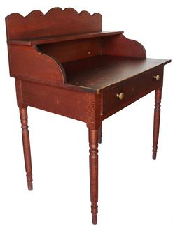 "GN1 19th century Pennsylvania Desk, with original paint, one drawers, with a scalloped back splash, very graceful turned legs, the wood is tiger maple and cherry, measurements are, 43"" tall x35 1/4"" wide x 22 1/2"" deep"