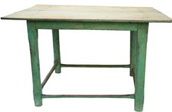"K84 Tarboro North Carolina  18th century box stretcher Table, with the old apple green paint, over the original green  with a two board top, the top is cypress wood the stretcher are white oak and  each board is 19 1/2"" wide.Circa 1780-1800 Measurements are: 46"" long x 39 1/4"" wide x 27 1/2"" tall"