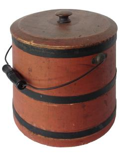 "P728 Sugar Bucket with the original salmon paint and lid 13 1/2"" tall"