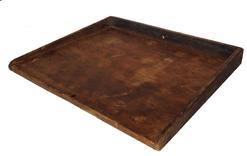 "RM265 19th century Noodle Board or Dough Board, with three sided gallery, early square head cut nails the gallery keep the dough on the work surface. The wood is pine, with original dry unclean surface Measures 25"" wide x 20 1/2"" deep"