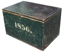 RM491  DATED 1856 Dated OLD ORIGINAL WINDSOR GREEN PAINTED DOCUMENT BOX.   this Box has the best unique period date numbers. it measures 19 3/8''w x 12'' h x 13 1/4''d. the windsor green paint is all original and it is constructed of original square nails and hinges are original also. the authentic age appropriate wear on this is primitively superb. it has a small brass hasp latch at the top for closure which closes tight. this is an outstanding Box