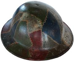 "WW1 US ""Crazy Quilt"" Camo Helmet w/ Liner & Chinstrap  Helmet has the wildest ""crazy quilt"" camo pattern. Paint is pretty nice. Liner & chinstrap show age. Great eye appeal helmet from WW1 1914-1918."