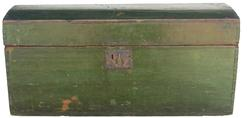 Y10 Mid 19th century  Dome Top Box in Dark Green Paint  dovetailed case dome top document Box  in the original  green paint,  circa 1850,
