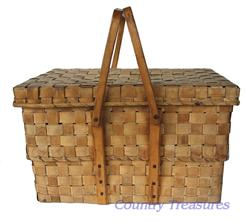 "D108  Very unusual Basket, for transporting food to church gathering  , beautiful old patinia ,this Basket is in two parts, with a swing handle, it has a notched and carved handle, very well made in great condition 16"" long x 11 1/2"" wide   15"" tall encluding handle"