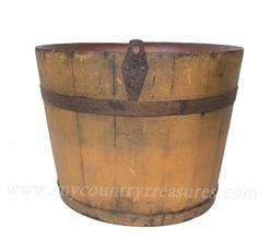 "R437  Rare New England Shaker Bucket with the original mustard paint  Stamped on bottom ""N.F. Shaker Enfield NH"""