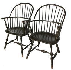 Mid 20th century hand crafted arm Windsor Chairs, nice carved knuckle arms, hand crafted by Virginia craftsman's reproductions, for the national Historical society  Gettysburg Pa.