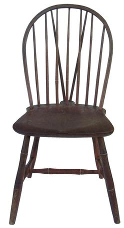 Y64 Early 19th Century Pennsylvania, Philadelphia Brace Back Windsor Chair  In Original Decorated Paint,