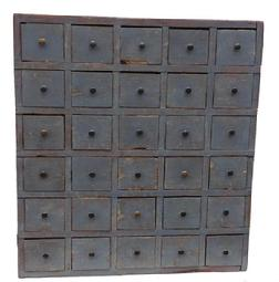 J430 Early 19th century New England 30 drawer Apothecary, with the original pewter gray paint, it has a dovetailed case, the drawers are nailed construction with square head nails, the drawers dividers are mortised , circa 1820