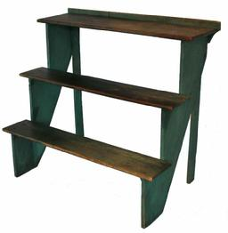 B110 19th century Plant Stand with the original green paint softwood, cut-nail construction having three tiered shelves and retaining the original painted surface, circa 1860  42 1/2�x 25 1/2�x 38 1/4�;