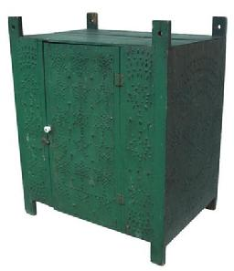X220 Green-painted Wooden and Punched Tin Paneled Hanging Pie Safe, the interior with two fixed shelves, ht. 34, wd. 28, dp. 20 in.