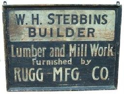Y262 Late 19th century  Trade Sign W. H. Stebbing Builders , from Pennsylvania, the sign is painted on one wide board, with applied molding, original white and black paint, sign by Artist