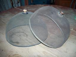 X530  Pair of two Late 19th century  wire screen with tin base domed food cover  and turned wooden knob on the top, a cover to keep flies from landing on food items