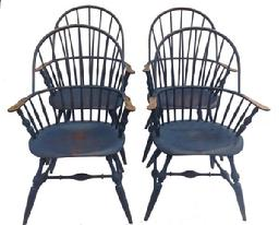Sold A100 FOUR WINDSOR STYLE CHAIRS BY CHRIS HARTER. New Jersey,four Of His  Earlier Hand Made Chairs Mixed Woods. Distressed Blue Paint.