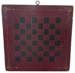 A24 19th century painted checkerboard,painted on one board retaining its original red and black checker design old dry surface with yellow pin striping, in each corner