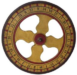 A136 This wonderful carnival gaming wheel is a nice piece of vintage Americana. The game wheel color is a mustard, with red and black details and large hand painted numbers in black