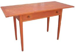 "W225 19th century  Work Table, from New York State, with the original red paint, dovetailed two board top  with bread board end, which are pegged on Measurement are 24 1/4"" deep x 51"" wide x 30"" tall circa 1840"