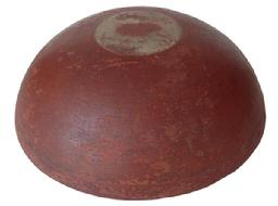 "X122 Early wooden Bowl with wonderful dry red paint and uncleaned surface. measurements: 15"" diameter 4 3/4"" tall"
