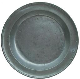 X464  Samuel Danforth pewter deep dish ca. 1805; single reed rim dish with two round Samuel Danforth spread eagle mark