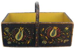 X538 19th century Painted  Handled Box, The box is painted with a early Pennsylvania Dutch type decoration, Has a steamed and bent wooden handle, nailed construction with square head nails,