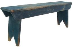 Y125 Mid 19th century Pennsylvania  Splayed leg Bench with wonderful old blue paint, nailed construction with square head nails